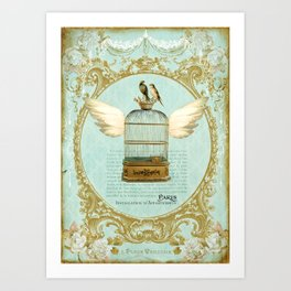 Flying Bird Cage Art Print