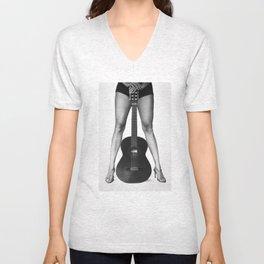 Guitar girl rocks! bw Unisex V-Neck