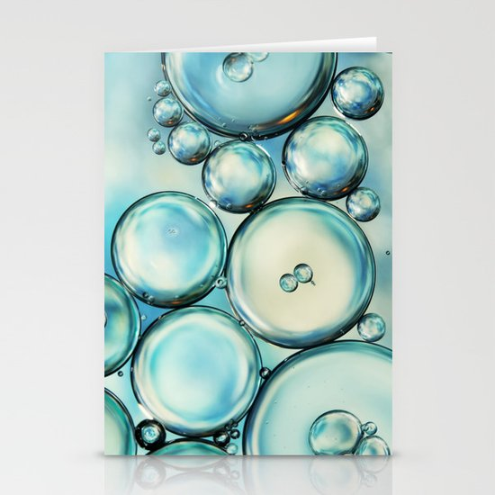 Sky Blue Bubble Abstract Stationery Cards