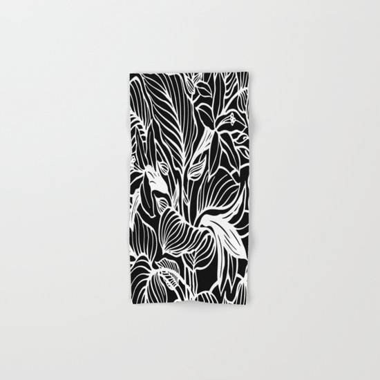 Black White Floral Hand & Bath Towel