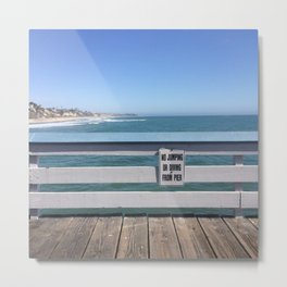 No Jumping Or Diving From Pier Metal Print