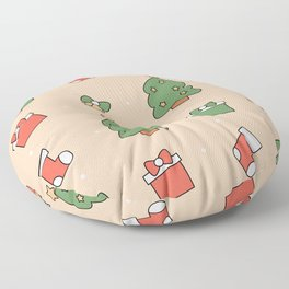 Cute christmas pattern with christmas tree, gift box, socks and bells Floor Pillow
