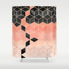 Black And Coral Cubes Shower Curtain