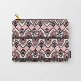 Blush Pink Black and White Ornate Lace Pattern Carry-All Pouch