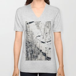 Snow on Textures of Pine Trees and Cliffs Unisex V-Neck