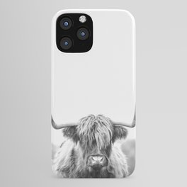 Highland Cow Longhorn in a Field Black and White iPhone Case