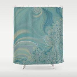 Soft Green Fractal 2 - Abstract Art by Fluid Nature Shower Curtain