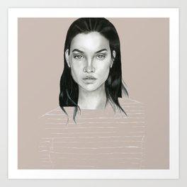 Graphite Barbara Palvin Art Print
