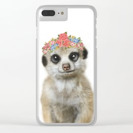 Meercat wirh flower crown Clear iPhone Case