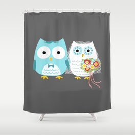 Owls Wedding Day | Bride and Groom Shower Curtain
