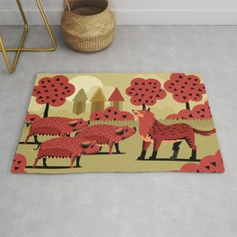 three little pigs and wolf Rug