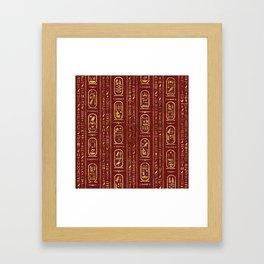 Egyptian hieroglyphs Gold on Red Leather Framed Art Print