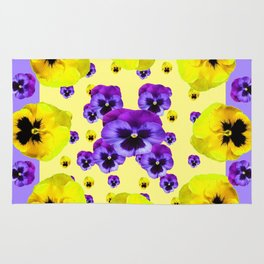 YELLOW & PURPLE PANSY FLOWERS FLOATING ON LILAC Rug