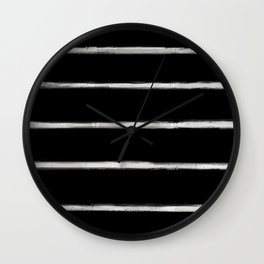 Skinny Strokes Gapped Horizontal Off White on Black Wall Clock