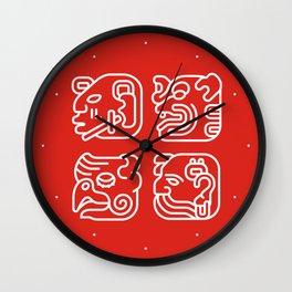 Mayan Glyphs ~ Heads Wall Clock