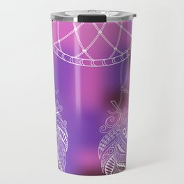 violet ethnic pattern with feathers Travel Mug