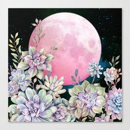 succulent full moon 3 Canvas Print