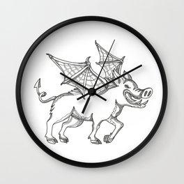 Winged Wild Boar Doodle Art Wall Clock