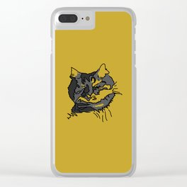 Mustard Sleeping Cat Clear iPhone Case