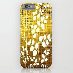 White leaves decor on golden background Slim Case iPhone 6s