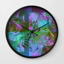 Green & Purple Roses Wall Clock