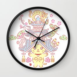 Japanese Tradition Kawaii Cat-NOSENYAN Wall Clock