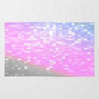 pixel art Area & Throw Rugs featuring Pink Lavender Gray Pixels by WhimsyRomance&Fun