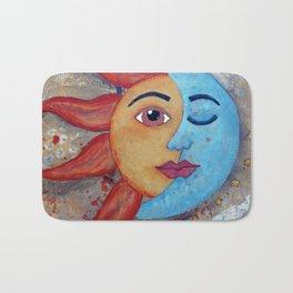 Soluna, Sun and Moon Mixed media Painting Bath Mat