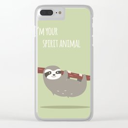 Sloth card - I'm your spirit animal Clear iPhone Case