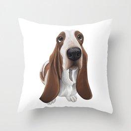 Funny Basset Hound Illustration Throw Pillow
