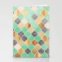 bedding Stationery Cards featuring Charcoal, Mint, Wood & Gold Moroccan Pattern by micklyn