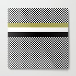 Black white checkerboard with gold stripe Metal Print