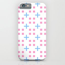 square and greek cross 1 - blue and pink iPhone Case