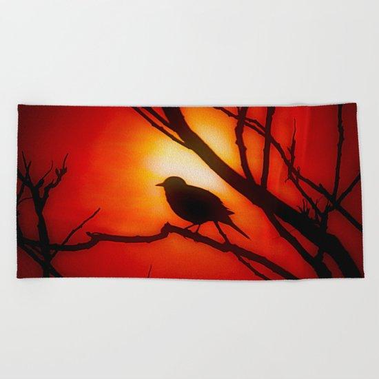 Blackbird in the morning light Beach Towel