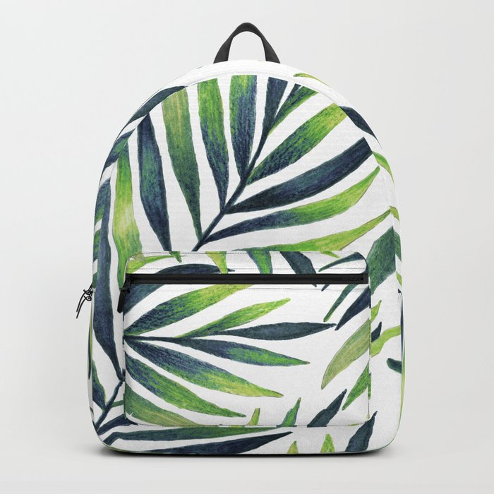 Tropical leaves. White pattern Backpack