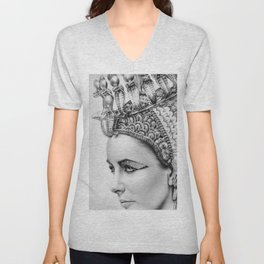 Elizabeth Taylor Cleopatra Portrait Unisex V-Neck