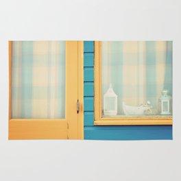 Beach Hut window- orange Rug