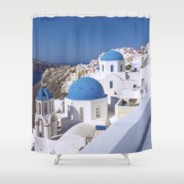 Oia Village in Santorini Shower Curtain