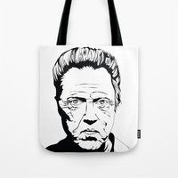 christopher walken Tote Bags featuring Christopher Walken by Sheena White for Winsome Gallery
