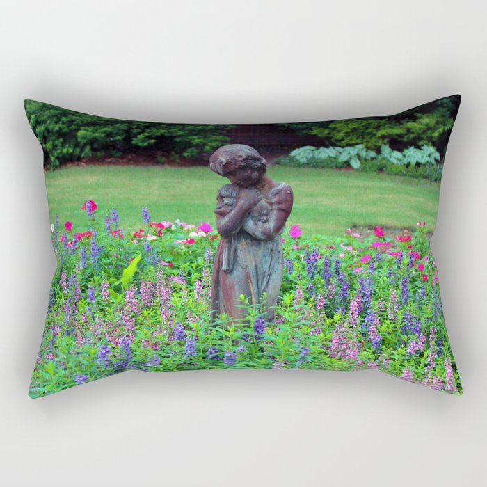 Child With Her Pet Statue Rectangular Pillow