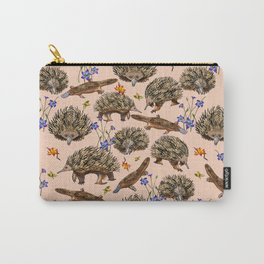 monotremes and wildflowers on apricot Carry-All Pouch
