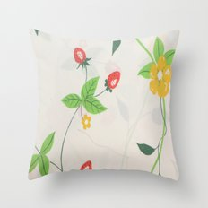 Strawberry Bloom Throw Pillow
