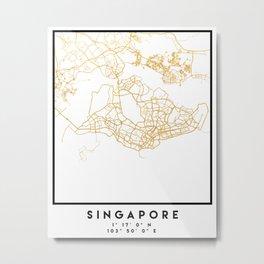 SINGAPORE CITY STREET MAP ART Metal Print