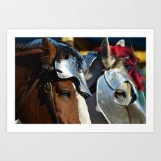 Jousting Horse - Armored Pair Art Print