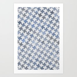MODERN HOUNDSTOOTH (BLUE), hand-painted by Frank-Joseph Art Print