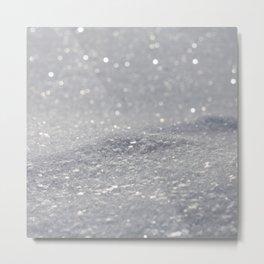 Grey Glitter Metal Print