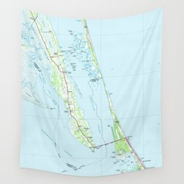 Northern Outer Banks North Carolina Map (1985) Wall Tapestry