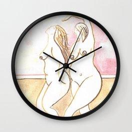 """NUDE DANCING WOMEN ART """"Impromptu Dance"""" large curvy woman naked women breasts erotic watercolor paintings pink etsy beige stickykitties Wall Clock"""