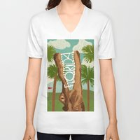 florida V-neck T-shirts featuring Florida by Santiago Uceda