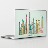 san diego Laptop & iPad Skins featuring San Diego skyline  by bri.buckley